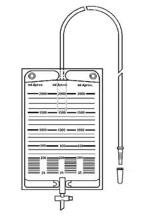 Bolsa colectora de orina 2000 ml válvula antirreflujo, llave