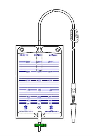 Bolsa colectora de orina 2000 ml válvula antirreflujo, llave y conector