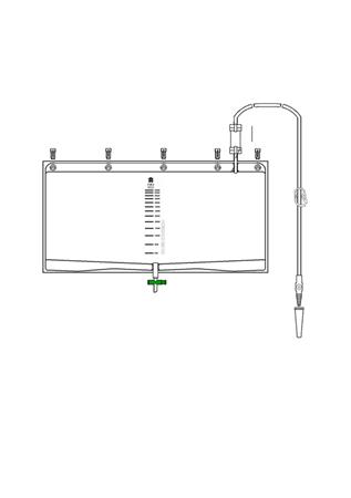 Bolsa colectora de orina capacidad 6000 ml, cámara PVC, punto para recogida aséptico y llave de descarga