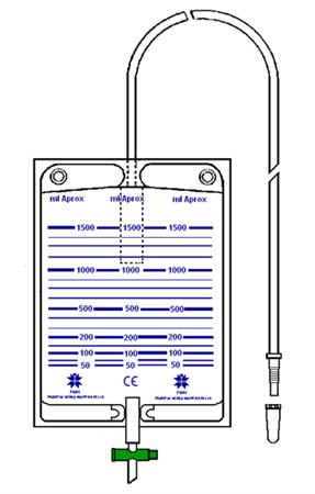 Bolsa colectora de orina 1500 ml válvula antirreflujo, grifo