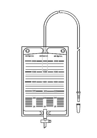 Bolsa colectora de orina 2000 ml con válvula antirreflujo y llave de descarga
