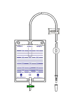 Bolsa colectora de orina 1500 ml con punto para recolección aséptico, válvula antirreflujo y llave de descarga