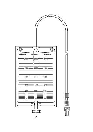 Bolsa colectora de orina 2000 ml con válvula antirreflujo, llave de descarga y terminación en Luer Lock móvil