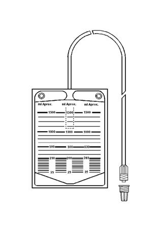 Bolsa colectora de orina 1500 ml con terminación de válvula en Luer Lock antirreflujo